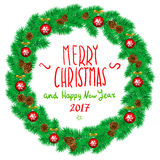 Merry Christmas And Happy New Year Vintage Background With Typography White card with Christmas wreath. Vector illustration. Art Stock Image