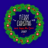 Merry Christmas And Happy New Year Vintage Background With Typography White card with Christmas wreath. Vector illustration. Royalty Free Stock Photos