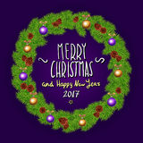 Merry Christmas And Happy New Year 2017 Vintage Background With Typography White card with Christmas wreath. Vector illustration. Art Royalty Free Stock Photos