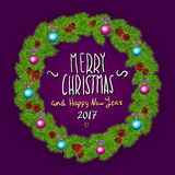 Merry Christmas And Happy New Year 2017 Vintage Background With Typography White card with Christmas wreath. Vector illustration. Royalty Free Stock Photo
