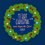 Merry Christmas And Happy New Year 2017 Vintage Background With Typography White card with Christmas wreath. Vector illustration. Stock Photo