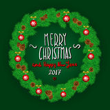 Merry Christmas And Happy New Year 2017 Vintage Background With Typography White card with Christmas wreath. Vector illustration. Stock Images