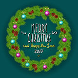 Merry Christmas And Happy New Year 2017 Vintage Background With Typography White card with Christmas wreath. Vector illustration. Art Stock Photo