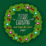 Merry Christmas And Happy New Year 2017 Vintage Background With Typography White card with Christmas wreath. Vector illustration. Stock Photography
