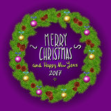 Merry Christmas And Happy New Year 2017 Vintage Background With Typography White card with Christmas wreath. Vector illustration. Stock Photos