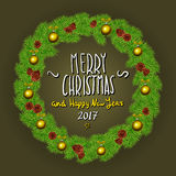 Merry Christmas And Happy New Year 2017 Vintage Background With Typography White card with Christmas wreath. Vector illustration. Art Stock Photography