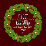 Merry Christmas And Happy New Year 2017 Vintage Background With Typography White card with Christmas wreath. Vector illustration. Art Stock Photos