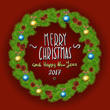 Merry Christmas And Happy New Year 2017 Vintage Background With Typography White card with Christmas wreath. Vector illustration. Art Royalty Free Illustration