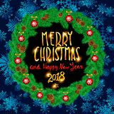 Merry Christmas And Happy New Year 2018 Vintage Background With Typography White card with Christmas wreath. Vector illustration. Art Stock Images