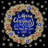 Merry Christmas And Happy New Year 2017 Vintage black Background blue With Typography card with gold Christmas wreath. Vector illu Stock Image