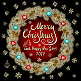 Merry Christmas And Happy New Year 2017 Vintage black Background red With Typography card with gold Christmas wreath. Vector illus. Tration. art Stock Photo