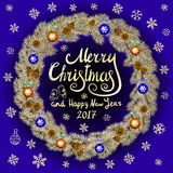 Merry Christmas And Happy New Year 2017 Vintage blue Background With Typography card with gold Christmas wreath. Vector illustrati. On. art Stock Photos