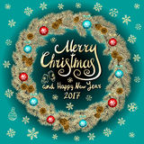 Merry Christmas And Happy New Year 2017 Vintage blue Background With Typography card with gold Christmas wreath. Vector illustrati. On. art Stock Photography