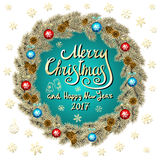 Merry Christmas And Happy New Year 2017 Vintage blue Background With Typography card with gold Christmas wreath. Vector illustrati. On. art Royalty Free Stock Images