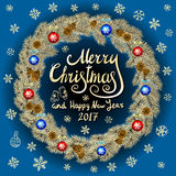 Merry Christmas And Happy New Year 2017 Vintage blue Background With Typography card with gold Christmas wreath. Vector illustrati. On. art Royalty Free Stock Photography