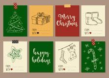 Merry Christmas and Happy New Year vintage gift tags cards with calligraphy. Merry Christmas and Happy New Year vintage gift tags and cards with calligraphy Royalty Free Stock Image