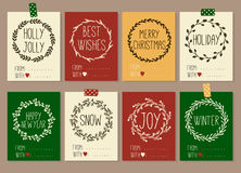 Merry Christmas and Happy New Year vintage gift tags cards with calligraphy. Merry Christmas and Happy New Year vintage gift tags and cards with calligraphy Stock Photos