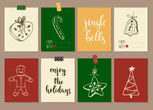 Merry Christmas and Happy New Year vintage gift tags cards with calligraphy. Merry Christmas and Happy New Year vintage gift tags and cards with calligraphy Royalty Free Stock Images