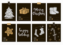 Merry Christmas and Happy New Year vintage gift tags cards with calligraphy. Merry Christmas and Happy New Year vintage gift tags and cards with calligraphy Stock Image