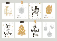 Merry Christmas and Happy New Year vintage gift tags cards with calligraphy. Merry Christmas and Happy New Year vintage gift tags and cards with calligraphy Royalty Free Stock Photo