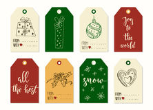 Merry Christmas and Happy New Year vintage gift tags cards with calligraphy. Merry Christmas and Happy New Year vintage gift tags and cards with calligraphy Stock Photography