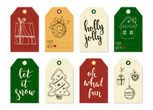 Merry Christmas and Happy New Year vintage gift tags cards with calligraphy. Merry Christmas and Happy New Year vintage gift tags and cards with calligraphy Royalty Free Stock Photos