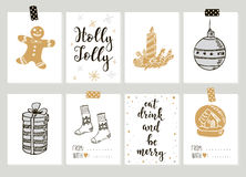 Merry Christmas and Happy New Year vintage gift tags cards with calligraphy. Merry Christmas and Happy New Year vintage gift tags and cards with calligraphy Stock Images