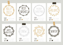 Merry Christmas and Happy New Year vintage gift tags cards with calligraphy. Merry Christmas and Happy New Year vintage gift tags and cards with calligraphy Royalty Free Stock Photography
