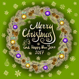 Merry Christmas And Happy New Year 2017 Vintage green Background With Typography card with gold Christmas wreath. Vector illustrat. Ion. art Stock Photos