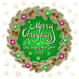 Merry Christmas And Happy New Year 2017 Vintage green Background With Typography card with gold Christmas wreath. Vector illustrat Stock Photo
