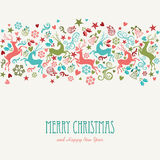Merry Christmas and Happy New Year vintage greetin Stock Photography