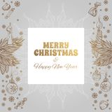 Merry Christmas and Happy New Year vintage greeting card. Merry Christmas and Happy New Year. Vector illustration for greeting cards, posters and other items Royalty Free Stock Images