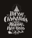 Merry Christmas and Happy New Year. Vintage inscription, lettering on chalk blackboard. Vector illustration stock illustration