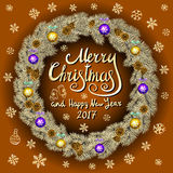 Merry Christmas And Happy New Year 2017 Vintage orange Background With Typography card with gold Christmas wreath. Vector illustra. Tion. art Royalty Free Stock Image