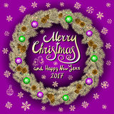 Merry Christmas And Happy New Year 2017 Vintage pink Background With Typography card with gold Christmas wreath. Vector illustrati. On. art Royalty Free Stock Photo