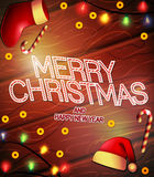 Merry Christmas and Happy New Year Vintage Poster for Promotional Purposes Royalty Free Stock Image