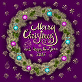 Merry Christmas And Happy New Year 2017 Vintage purple Background With Typography card with gold Christmas wreath. Vector illustra Stock Photos