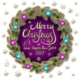 Merry Christmas And Happy New Year 2017 Vintage purple Background With Typography card with gold Christmas wreath. Vector illustra Royalty Free Stock Photography