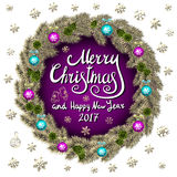 Merry Christmas And Happy New Year 2017 Vintage purple Background With Typography card with gold Christmas wreath. Vector illustra Stock Image