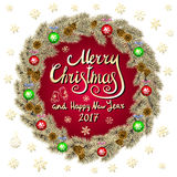 Merry Christmas And Happy New Year 2017 Vintage red Background green With Typography card with gold Christmas wreath. Vector illus Royalty Free Stock Photos