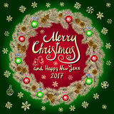 Merry Christmas And Happy New Year 2017 Vintage red Background green With Typography card with gold Christmas wreath. Vector illus Stock Photos