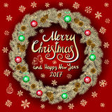 Merry Christmas And Happy New Year 2017 Vintage red Background With Typography card with gold Christmas wreath. Vector illustratio Royalty Free Stock Photo