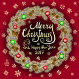 Merry Christmas And Happy New Year 2017 Vintage red Background With Typography card with gold Christmas wreath. Vector illustratio. N. art Royalty Free Stock Photography
