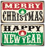 Merry Christmas and Happy New Year Vintage Signs Set Stock Photo