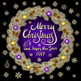 Merry Christmas And Happy New Year 2017 Vintage violet Background black With Typography card with gold Christmas wreath. Vector il Royalty Free Stock Images