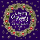 Merry Christmas And Happy New Year 2017 Vintage violet Background With Typography card with gold Christmas wreath. Vector illustra Royalty Free Stock Image