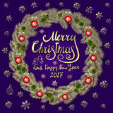 Merry Christmas And Happy New Year 2017 Vintage violet Background With Typography card with gold Christmas wreath. Vector illustra Royalty Free Stock Photography