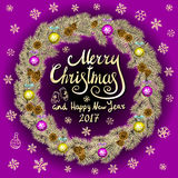 Merry Christmas And Happy New Year 2017 Vintage violet Background With Typography card with gold Christmas wreath. Vector illustra Stock Photos