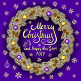 Merry Christmas And Happy New Year 2017 Vintage violet Background With Typography card with gold Christmas wreath. Vector illustra Royalty Free Stock Images