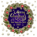Merry Christmas And Happy New Year 2017 Vintage violet Background  Stock Photo